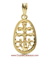 GOLDEN CARAVACA CROSS WITH ANGELS AND CHRIST IN MEDAL