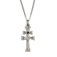 SET CARAVACA CROSS STERLING SILVER STONE CARVED GLASS AND SILVER CHAIN