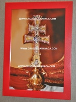 TABLE CARAVACA CROSS PHOTO FRAME IN RED MEDIUM