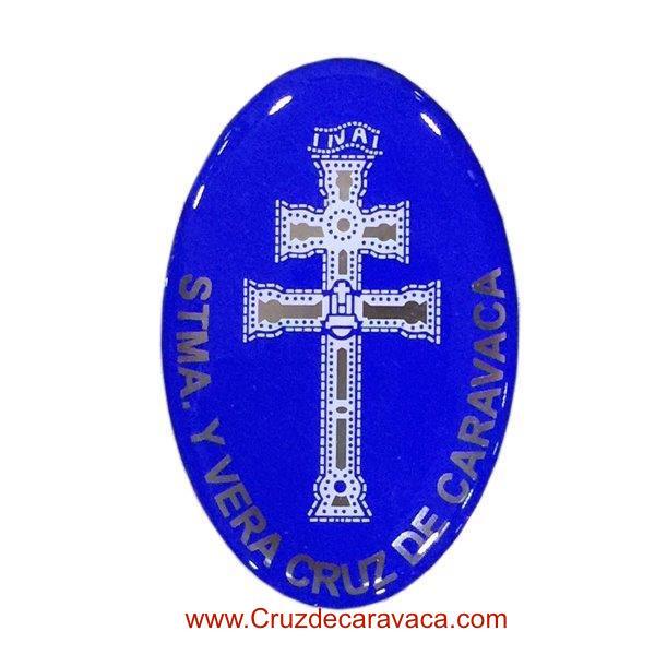 PEGATINA ADHESIVA DE LA CRUZ DE CARAVACA EN RESINA AZUL