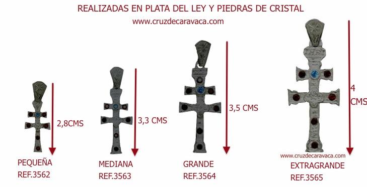 CRUZ CARAVACA EN PLATA DE LEY CON PIEDRAS DE CRISTAL TALLADO EXTRA GRANDE