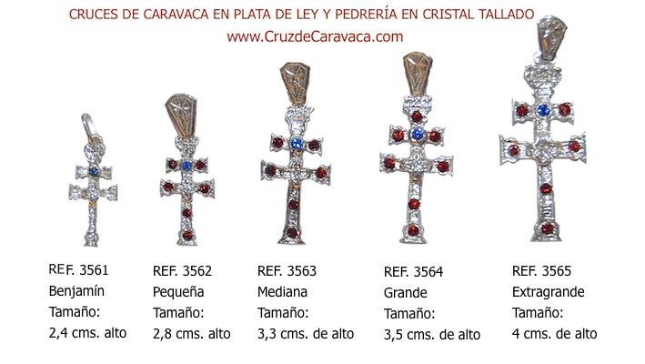 CRUZ CARAVACA EN PLATA DE LEY CON PIEDRAS DE CRISTAL TALLADO BENJAMIN PICCOLO MEDIUM GRAND