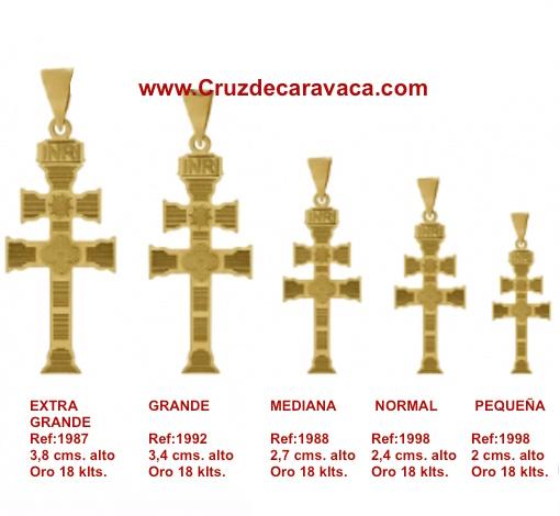 CRUZ DE CARAVACA DE ORO 18 KLTS GRABADO A LASER A DOS CARAS PEQUEÑA MOLTO GRANDE MEDIUM NORMALE GRAND