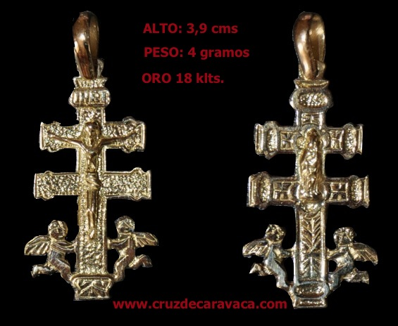 GOLDEN CROSS WITH CHRIST CARAVACA ANGELES