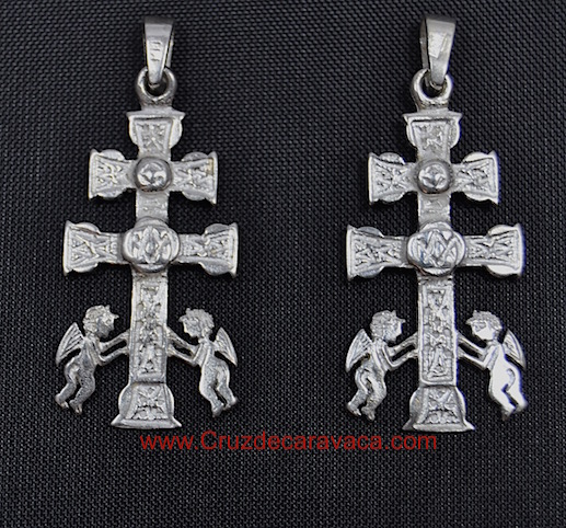 CROSS CARAVACA WITH ANGELS RELIQUARY IN SILVER