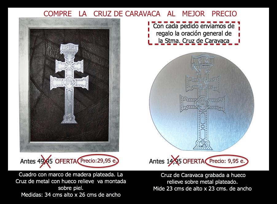CUADRO CRUZ DE CARAVACA DE METAL PLATEADO GRABADA CON HUECO RELIEVE CON FONDO EN PIEL MARRON OSCURO
