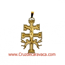 CRUZ DE CARAVACA A RELIEVE DE ORO AMARILLO Y BLANCO CON ANGELES Y CRISTO NORMAL