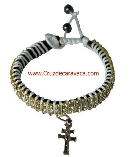 BRACELET WITH CROSS OF CARAVACA STRASS CRYSTAL ADJUSTABLE WHITE