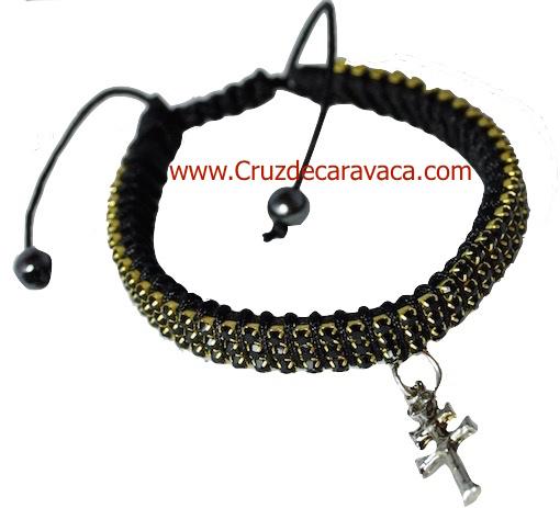 BRACELET WITH CROSS OF CARAVACA STRASS CRYSTAL ADJUSTABLE BLACK