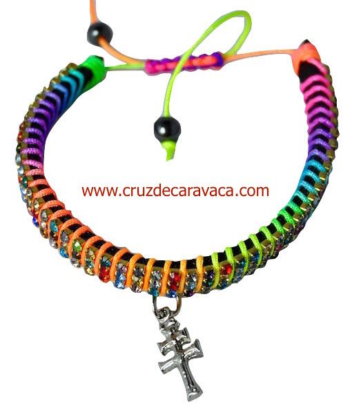 BRACELET WITH CROSS OF CARAVACA STRASS CRYSTAL ADJUSTABLE