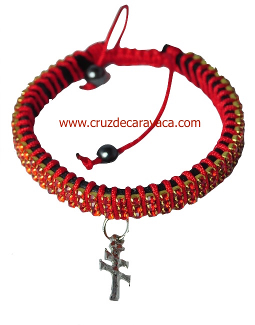 BRACELET WITH CROSS OF CARAVACA STRASS CRYSTAL ADJUSTABLE RED