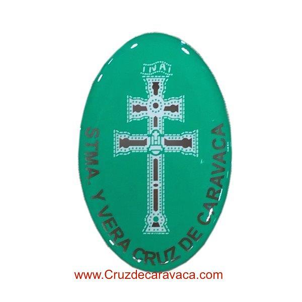 PEGATINA ADHESIVA DE LA CRUZ DE CARAVACA EN RESINA VERDE
