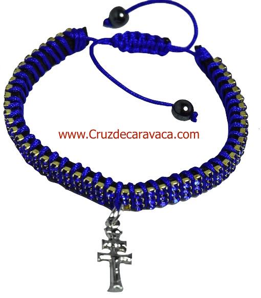 PULSERA CRUZ DE CARAVACA CON CRISTALES STRASS AJUSTABLE AZUL