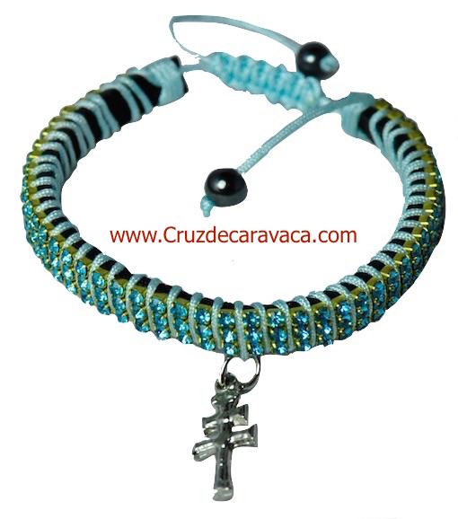 PULSERA CRUZ DE CARAVACA CON CRISTALES STRASS AJUSTABLE AZUL CELESTE