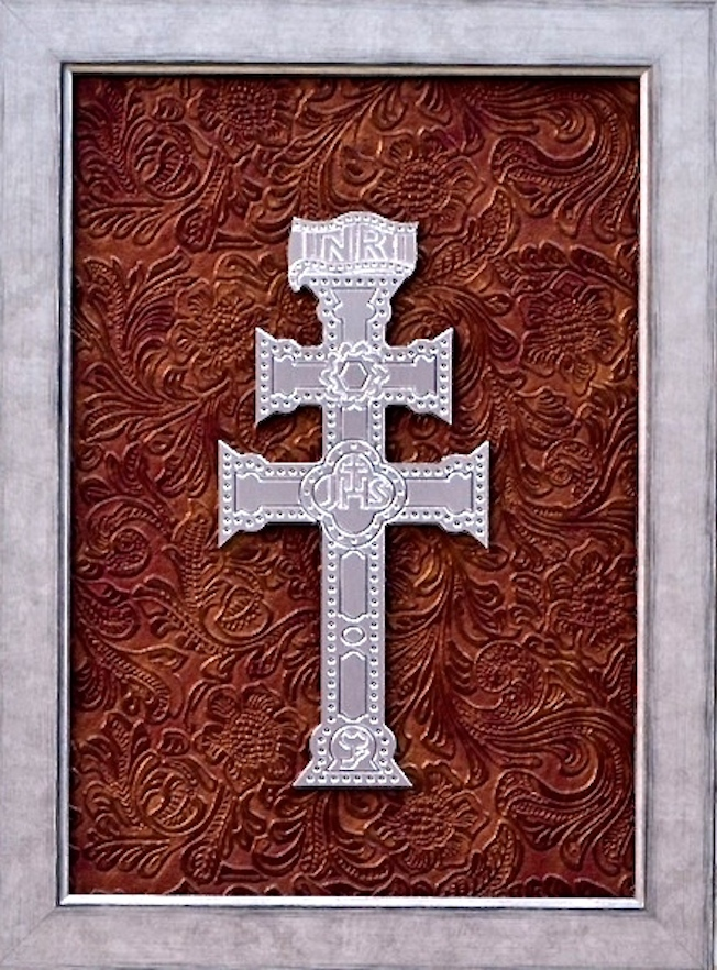 Table Caravaca Cross Metal Silver Engraved Hollow Relief