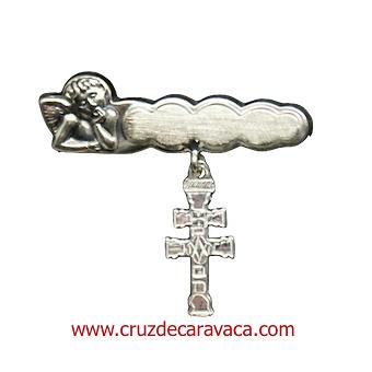 ALFILER CRUZ DE CARAVACA PARA BEBÉ EN PLATA DE LEY CON ANGEL