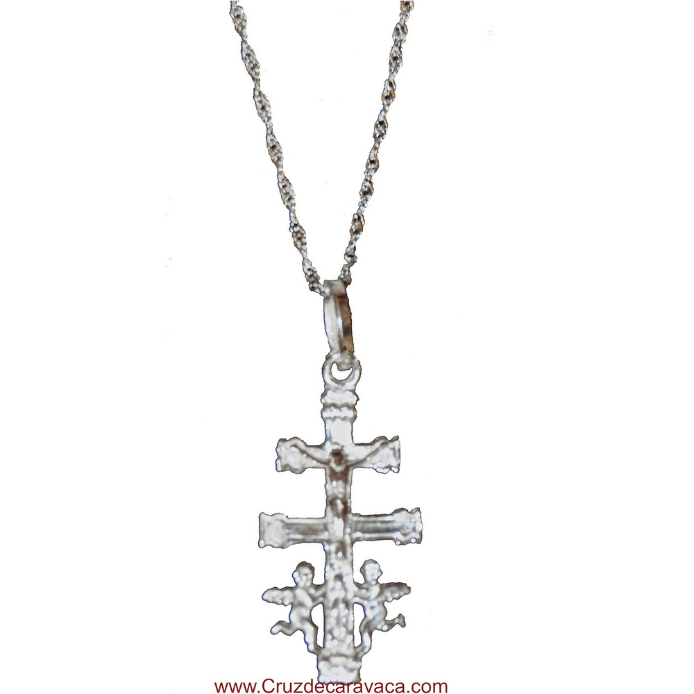BIG CARAVACA CROSS AND CHAIN ​​IS ALL SILVER