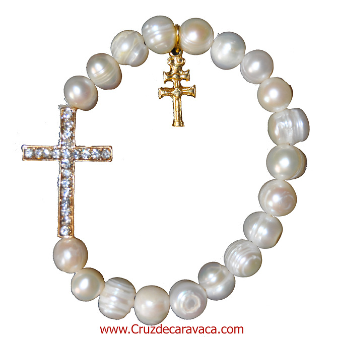 BRACELET CARAVACA CROSS, STONE CROSS AND NATURAL PEARL RIVER