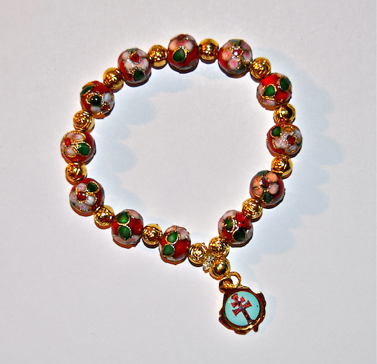 BRACELET CROISSINÉ CARAVACA CROSS IN RED
