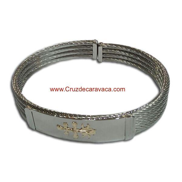 BRACELET CROSS OF CARAVACA MAKE IN STEEL FOUR-CORD AND GOLD CROSS OF CARAVACA