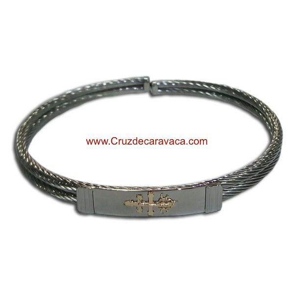 BRACELET CROSS OF CARAVACA MAKE IN STEEL TWO-CORD AND GOLD CROSS OF CARAVACA