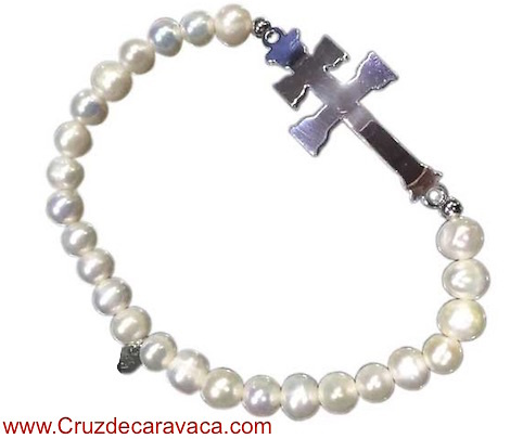 BRACELET ELASTIC SILVER CARAVACA CROSS AND PEARLS