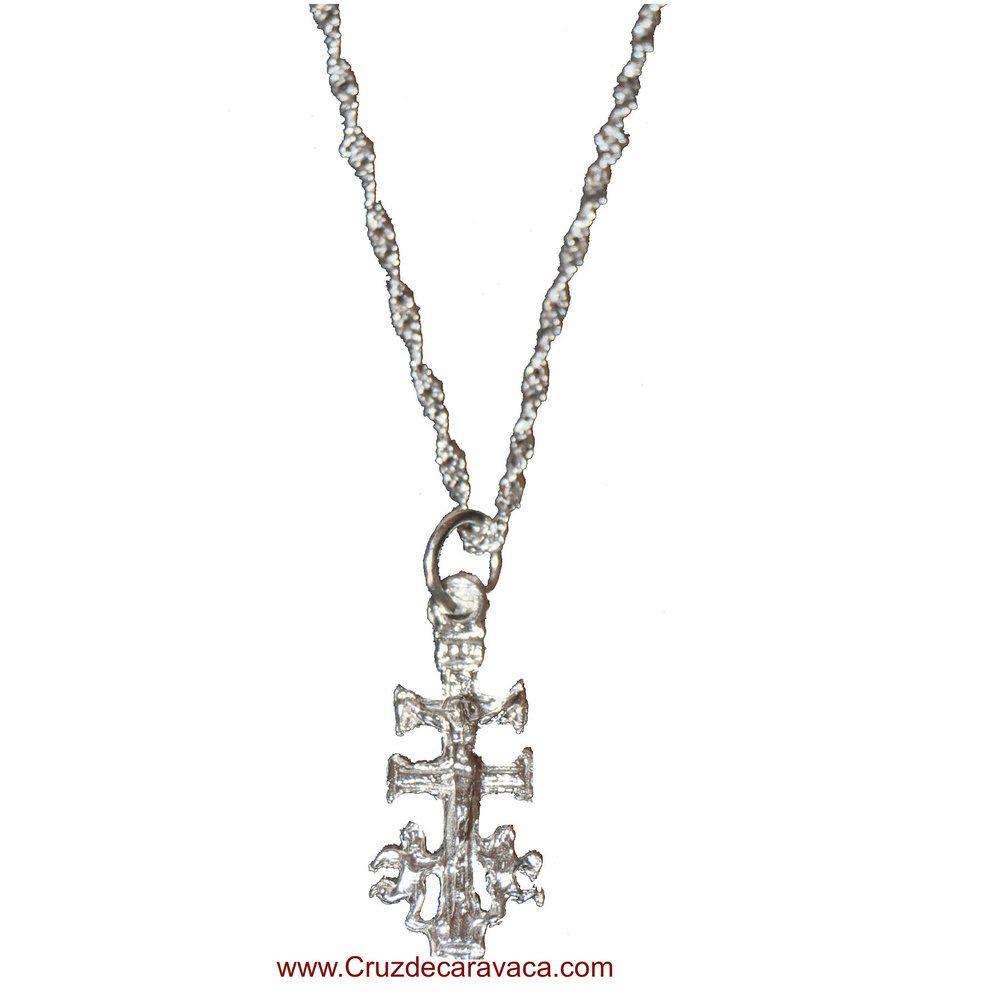 CARAVACA CROSS AND CHAIN ​​IS ALL SILVER
