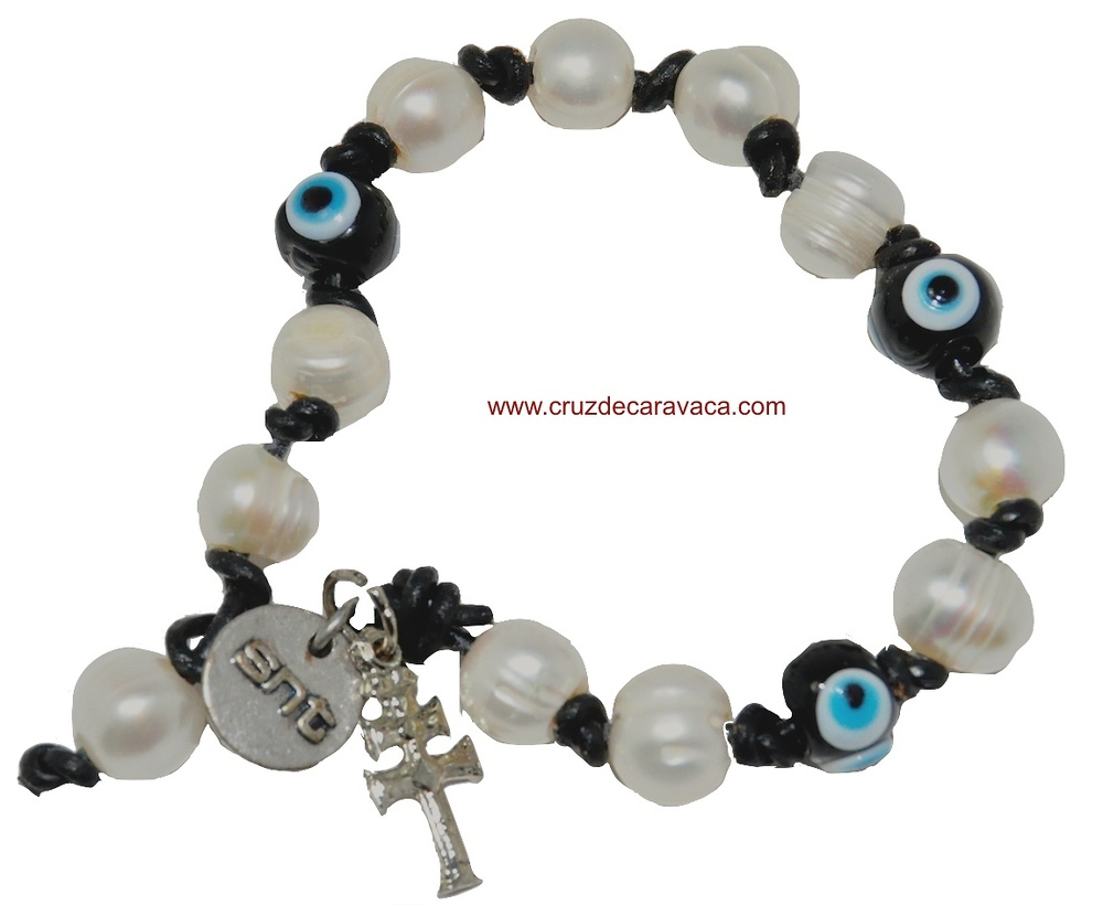 CARAVACA CROSS BRACELET WITH TURKISH EYE AND PEARLS