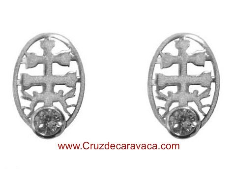CARAVACA CROSS EARRINGS BABY ARGENTO CON CIRCONITO