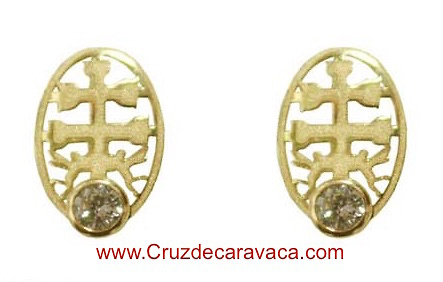 CARAVACA CROSS EARRINGS BABY ORO CON CIRCONITO