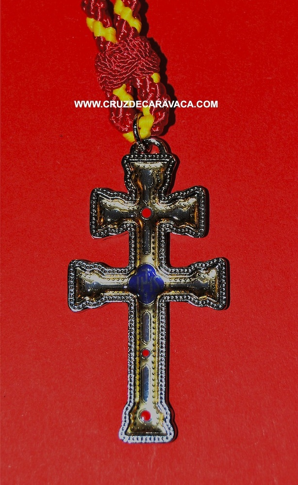 CARAVACA CROSS IN LARGE METAL AND RESIN GRAVURE WITH CORD