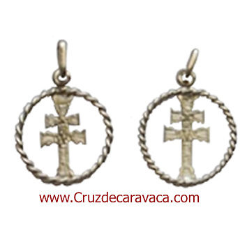 CARAVACA CROSS MEDAL SILVER CORD TWISTED