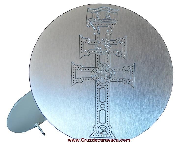 CARAVACA CROSS METAL SILVER ENGRAVED HOLLOW RELIEF