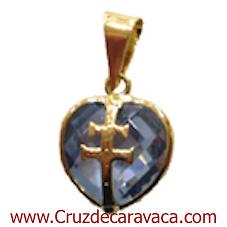 CARAVACA CROSS PENDANT IN GOLD ON CRYSTAL BLUE HEART CUT BIG