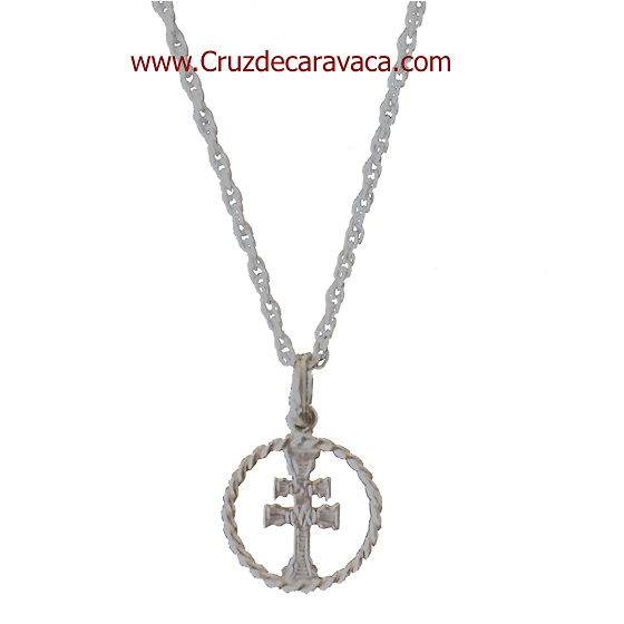 CARAVACA CROSS SILVER AND SILVER LACE