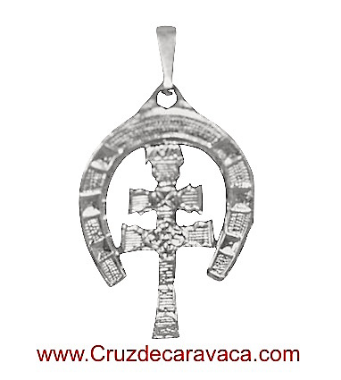 CARAVACA CROSS SILVER HORSESHOE FOR HANGING