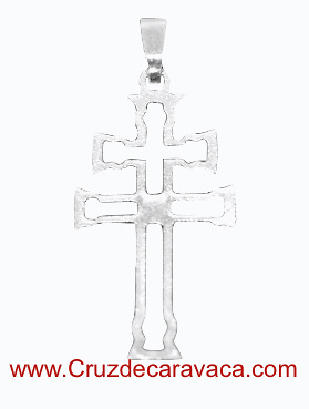 CARAVACA CROSS SILVER SADDLE WITH TRAPEZOIDAL RING BIG