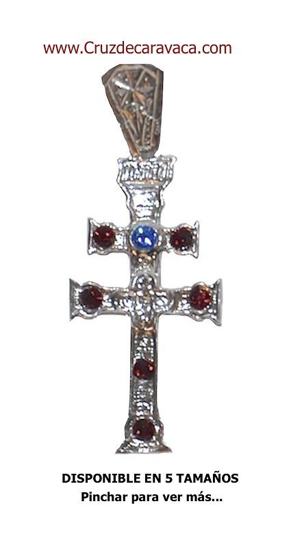CARAVACA CROSS STERLING SILVER STONE CARVED GLASS