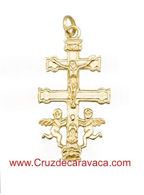 CARAVACA CROSS WITH ANGELES MADE IN GOLD