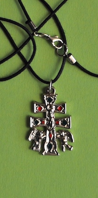 CARAVACA CROSS WITH ANGELS A RELIEF TO BOTH SIDES AND ENAMELS IN DETAILS SIZE SMALL