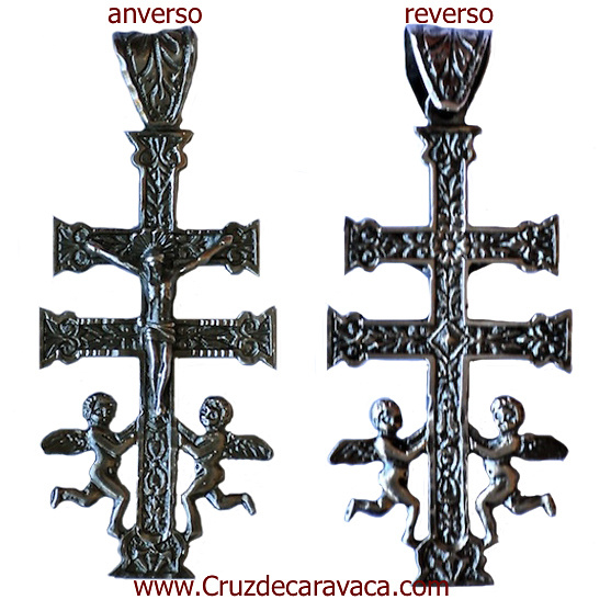CARAVACA CROSS WITH ANGELS IN SILVER