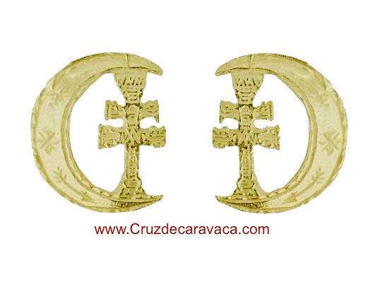 CRESCENT GOLD EARRINGS CROSS OF CARAVACA FOR WOMAN