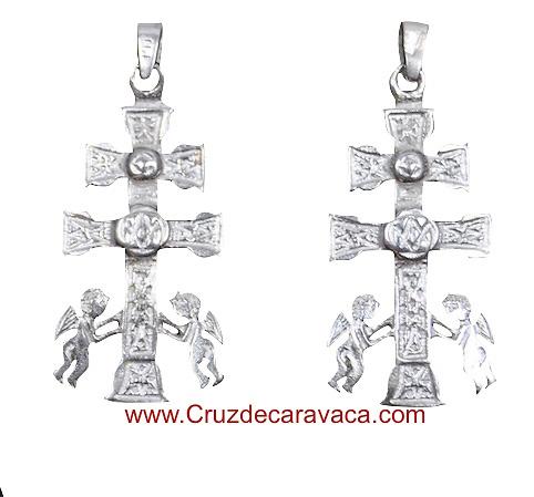 CROCE CARAVACA CON ANGELES DI ARGENTO RELICARIO