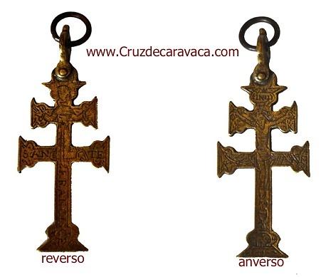 CROCE DI CARAVACA ANTICA CON CRISTO E SAN FRANCISCO XVII SECOLO
