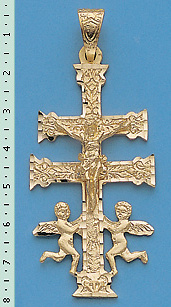 CROS OF CARAVACA WITH ANGELS PENDANT MADE IN GOLD C571