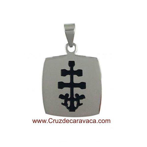 CROSS OF CARAVACA MEDAL OF STAINLESS STEEL AND ENAMEL