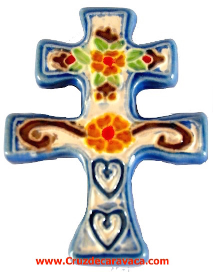 CROSS OF CARAVACA OF CERAMICS WITH SMALL MAGNET