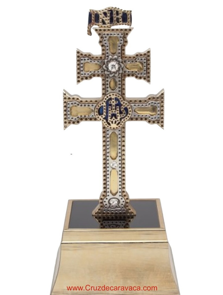 CROSS OF CARAVACA ON REPLICA STAND WITH SWAROVSKI STONES