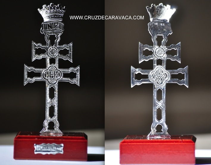 CROSS OF CARAVACA SILVER WITH WOOD STAND