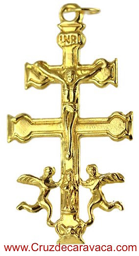 CROSS OF CARAVACA WITH ANGELES MADE IN GOLD 18 KARAT LONG